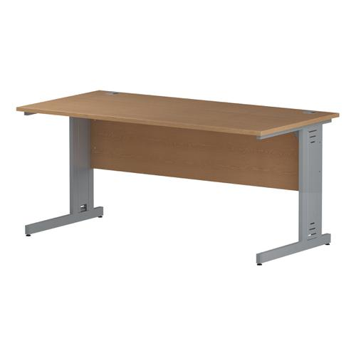 Trexus Rectangular Desk Silver Cable Managed Leg 1600x800mm Oak Ref I000852