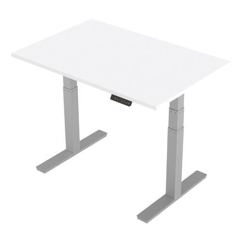 Trexus Sit-Stand Desk Height-adjustable Silver Leg Frame 1200/800mm White Ref HA01009