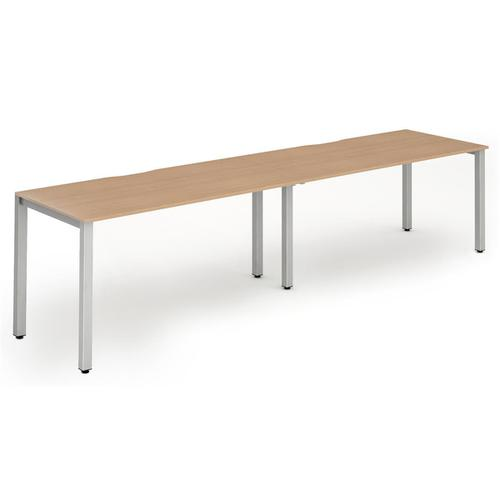 Trexus Bench Desk 2 Person Side to Side Configuration Silver Leg 3200x800mm Beech Ref BE372