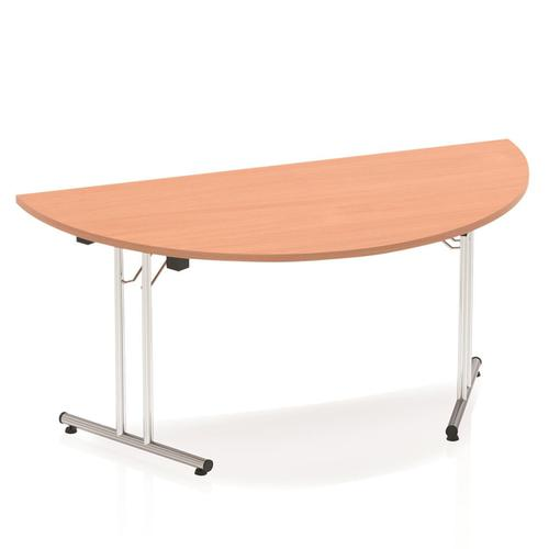 Sonix Semi-circular Chrome Leg Folding Meeting Table 1600x800mm Beech Ref I000694