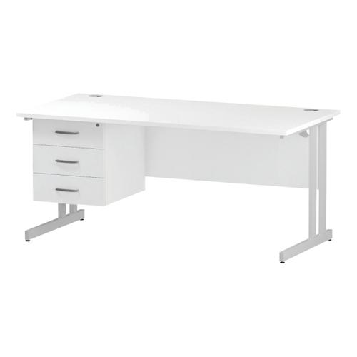 Trexus Rectangular Desk White Cantilever Leg 1600x800mm Fixed Pedestal 3 Drawers White Ref I002219