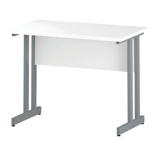 Trexus Rectangular Slim Desk Silver Cantilever Leg 1000x600mm White Ref I002195