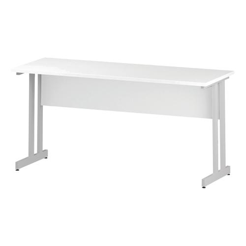 Trexus Rectangular Slim Desk White Cantilever Leg 1600x600mm White Ref I002203