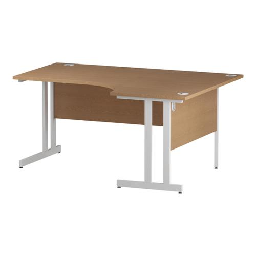 Trexus Radial Desk Right Hand White Cantilever Leg 1600mm Oak Ref I002845