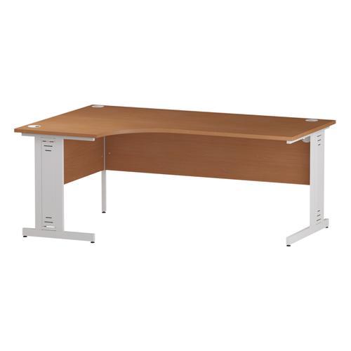 Trexus Radial Desk Left Hand White Cable Managed Leg 1600/1200mm Beech Ref I001879