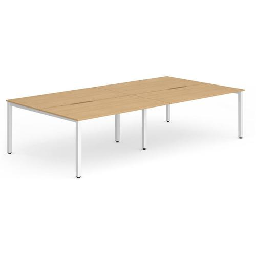 Trexus Bench Desk 4 Person Back to Back Configuration White Leg 2400x1600mm Beech Ref BE247