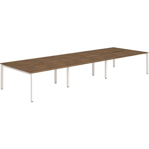 Trexus Bench Desk 6 Person Back to Back Configuration White Leg 3600x1600mm Walnut Ref BE279