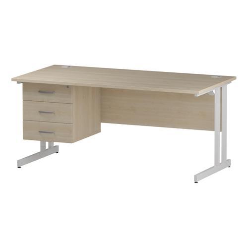 Trexus Rectangular Desk White Cantilever Leg 1600x800mm Fixed Pedestal 3 Drawers Maple Ref I002445