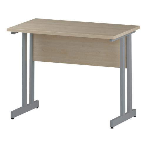 Trexus Rectangular Slim Desk Silver Cantilever Leg 1000x600mm Maple Ref I002421