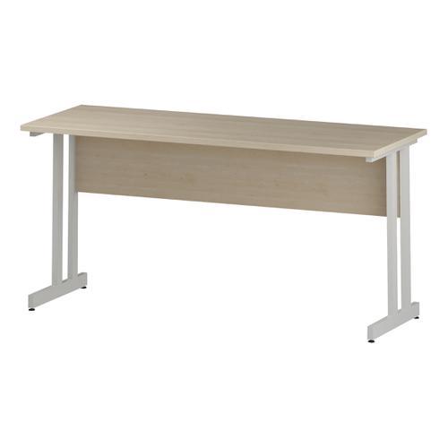 Trexus Rectangular Slim Desk White Cantilever Leg 1600x600mm Maple Ref I002429