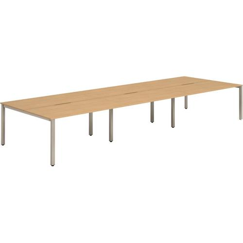 Trexus Bench Desk 6 Person Back to Back Configuration Silver Leg 4200x1600mm Beech Ref BE297