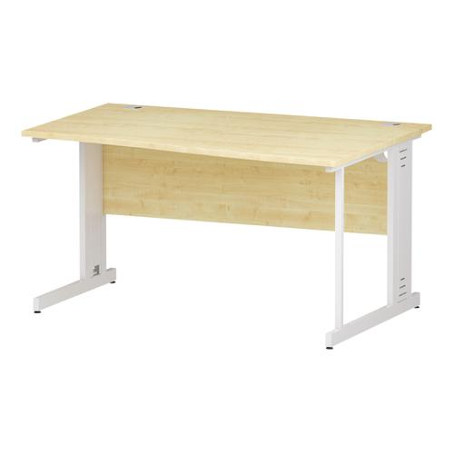 Trexus Wave Desk Right Hand White Cable Managed Leg 1400mm Maple Ref I002572