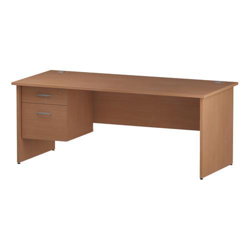 Trexus Rectangular Desk Panel End Leg 1800x800mm Fixed Pedestal 2 Drawers Beech Ref I001736