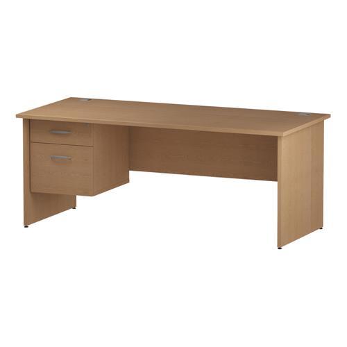 Trexus Rectangular Desk Panel End Leg 1800x800mm Fixed Pedestal 2 Drawers Oak Ref I002705