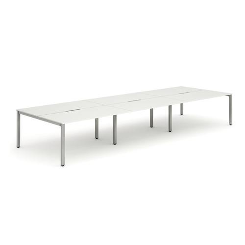 Trexus Bench Desk 6 Person Back to Back Configuration Silver Leg 4200x1600mm White Ref BE295