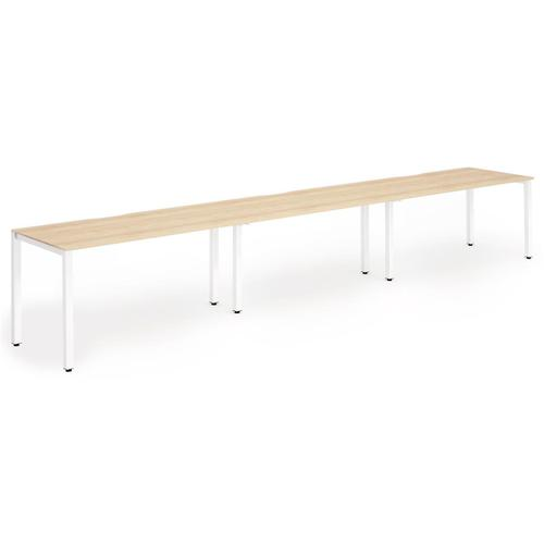 Trexus Bench Desk 3 Person Side to Side Configuration White Leg 4800x800mm Maple Ref BE386