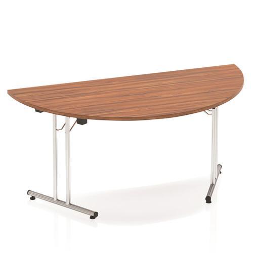 Sonix Semi-circular Chrome Leg Folding Meeting Table 1600x800mm Walnut Ref I000703