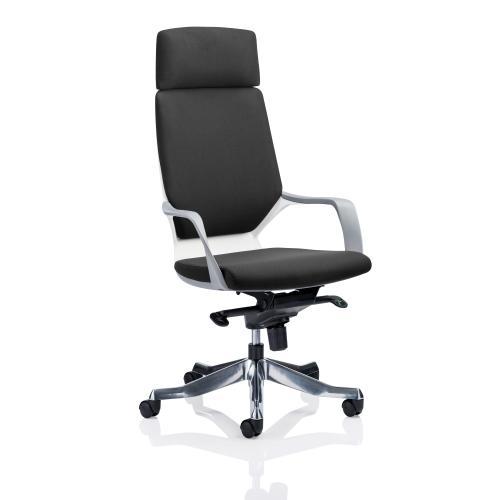 Adroit Xenon White Shell Head Rest Chair Black 520x470x450-535mm Ref KC0226