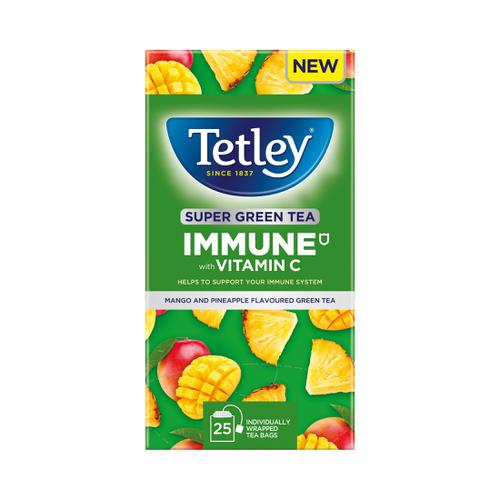 Tetley Super Green Tea IMMUNE Mango & Pineapple with Vitamin C Ref 4691A [Pack 25]