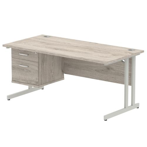 Trexus Rectangular Desk Silver Cantilever Leg 1600x800mm Fixed Ped 2 Drawers Grey Oak Ref I003486
