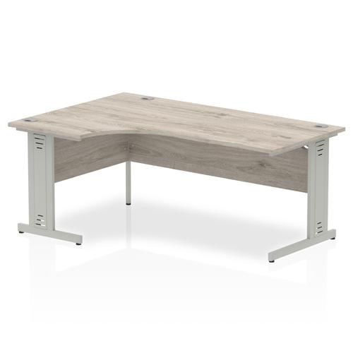 Trexus Radial Desk Left Hand Silver Cable Managed Leg 1800mm Grey Oak Ref I003143