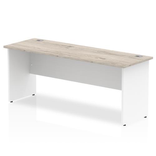 Trexus Slim Rectangular Desk Panel End Leg 1800x600mm Grey Oak/White Ref TT000152