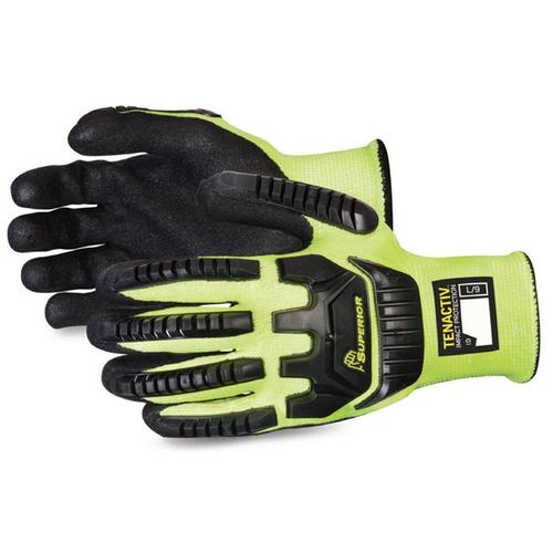 Superior Glove Tenactiv Anti-Impact Hi-Vis Black Widow 7 Yellow Ref SUSTAGYPNVB07 *Up to 3 Day Leadtime*
