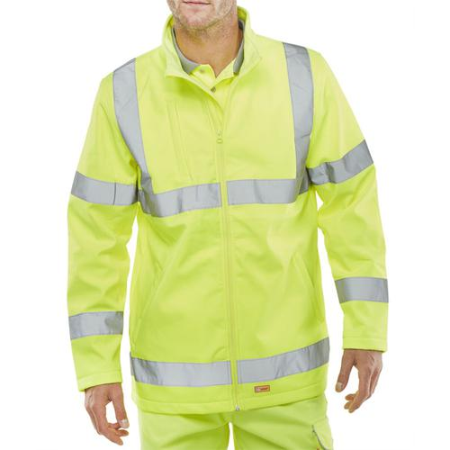 Bseen High-Vis Soft Shell Jacket EN ISO 20471 XL Yellow Ref SS20471SYXL *Up to 3 Day Leadtime*