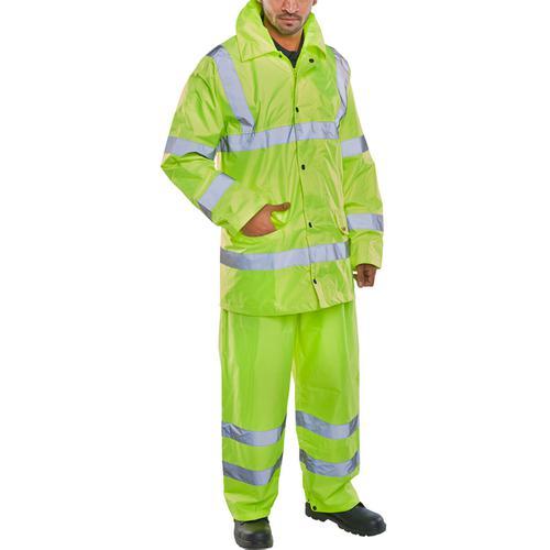 BSeen Hi-Vis L/Wt Suit Jkt/Trs EN ISO 20471 EN 343 XL Saturn Yellow Ref TS8SYXL *Up to 3 Day Leadtime*