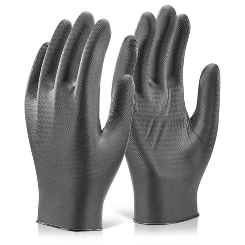 Glovezilla Nitrile Disposable Gripper Glove Black XL Ref GZNDG10BLXL [Pack 1000] *Up to 3 Day Leadtime*