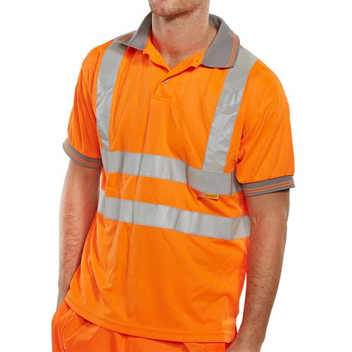 B-Seen Polo Shirt Hi-Vis Short Sleeved L Orange Ref BPKSENORL *Up to 3 Day Leadtime*