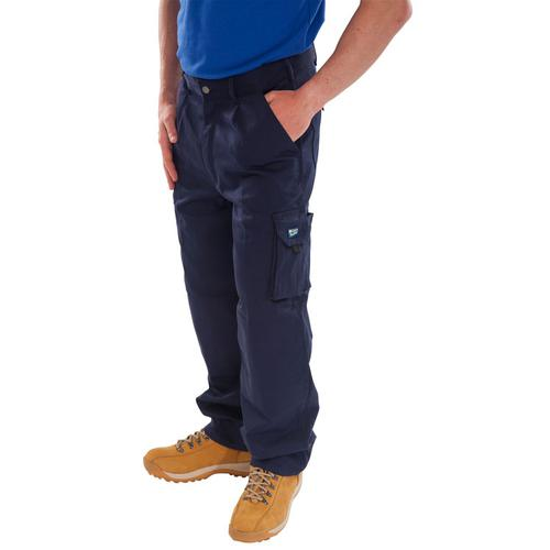 Click Traders Newark Cargo Trousers 320gsm 36 Navy Blue Ref CTRANTN36 *Up to 3 Day Leadtime*