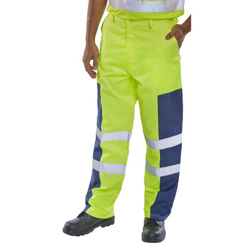 Click Workwear Trousers Hi-Vis Nylon Patch Yellow/Navy Blue 42 Ref PCTSYNNP42 *Up to 3 Day Leadtime*