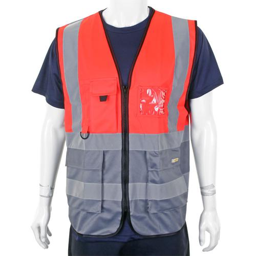 BSeen High-Vis Two Tone Executive Waistcoat Medium Red/Grey Ref HVWCTTREGYM *Up to 3 Day Leadtime*