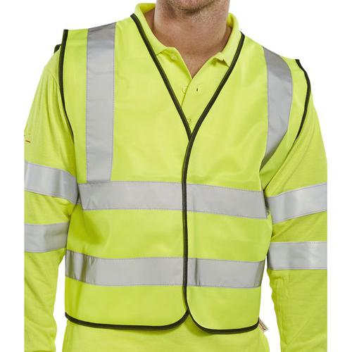 B-Seen High Visibility Short Waistcoat APP G Polyester XL Sat Yellow Ref WCENGSHXL *Up to 3 Day Leadtime*