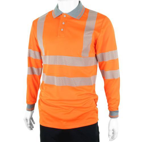 B-Seen Executive Polo Long Sleeve Hi-Vis XL Orange Ref BPKEXECLSORXL *Up to 3 Day Leadtime*