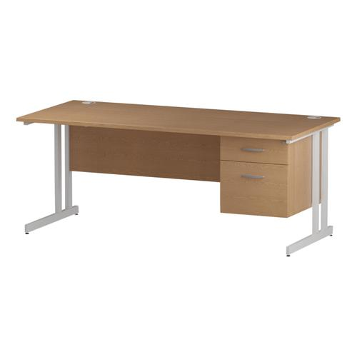 Trexus Rectangular Desk White Cantilever Leg 1800x800mm Fixed Pedestal 2 Drawers Oak Ref I002664
