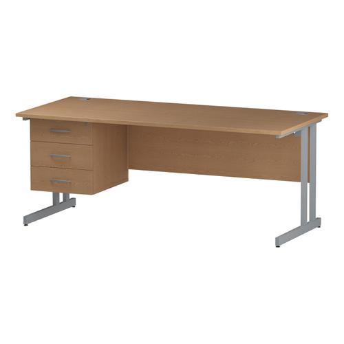 Trexus Rectangular Desk Silver Cantilever Leg 1800x800mm Fixed Pedestal 3 Drawers Oak Ref I002668