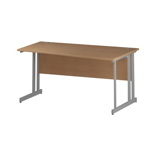 Trexus Wave Desk Right Hand Silver Cantilever Leg 1600mm Oak Ref I000813