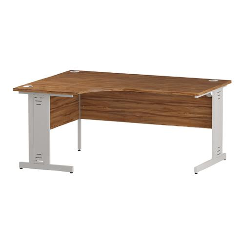 Trexus Radial Desk Left Hand White Cable Managed Leg 1600/1200mm Walnut Ref I002146