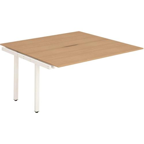 Trexus Bench Desk Double Extension Back to Back Configuration White Leg 1200x1600mm Beech Ref BE210