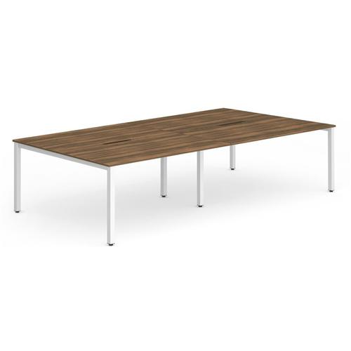 Trexus Bench Desk 4 Person Back to Back Configuration White Leg 2400x1600mm Walnut Ref BE239