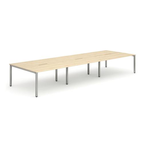 Trexus Bench Desk 6 Person Back to Back Configuration Silver Leg 4200x1600mm Maple Ref BE291