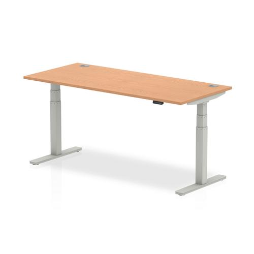 Trexus Sit Stand Desk With Cable Ports Silver Legs 1800x800mm Oak Ref HA01100