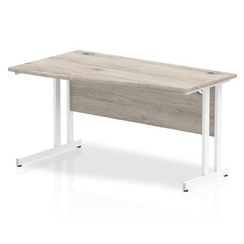 Trexus Wave Desk Left Hand White Cantilever Leg 1400mm Grey Oak Ref I003120