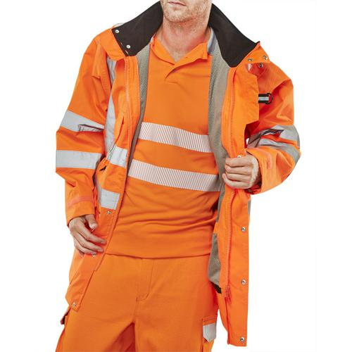 B-Seen Elsener 7 In 1 High Visibility Jacket 3XL Orange Ref 7IN1OR3XL *Up to 3 Day Leadtime*