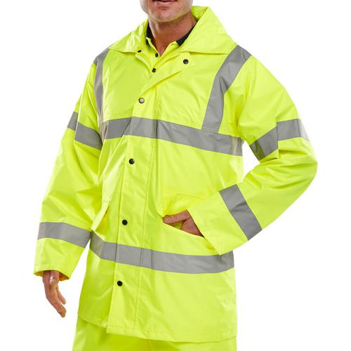 B-Seen High Visibility Lightweight EN471 Jacket XL Saturn Yellow Ref TJ8SYXL *Up to 3 Day Leadtime*