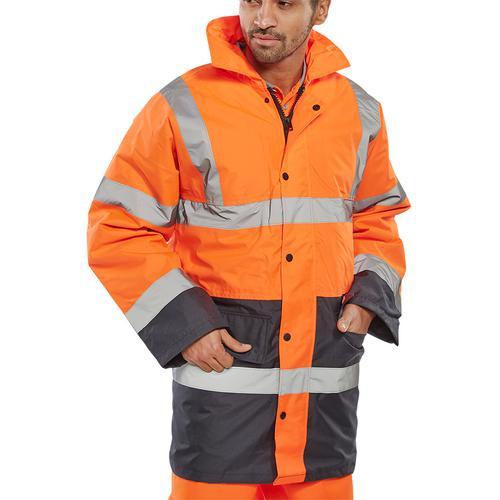 BSeen Hi-Vis Heavyweight Two Tone Traffic Jacket 2XL Orange/Navy Ref TJSTTENGORNXXL *Upto 3 Day Leadtime*