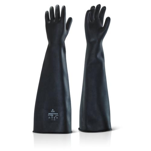 Ansell Industrial Latex Heavy Weight 24inch Gauntlet Size 10 Black Ref ILHW2410 *Up to 3 Day Leadtime*