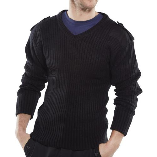 Click Workwear Sweater Military Style V-Neck Acrylic 2XL Black Ref AMODVBLXXL *Up to 3 Day Leadtime*
